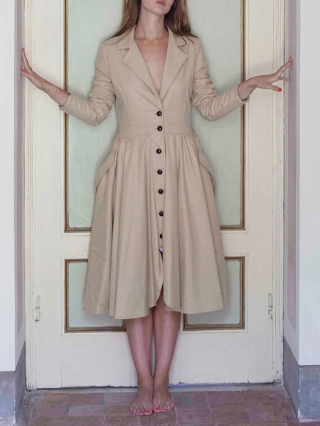 A-line Cashmere Plain Long Sleeve Elegant Coat
