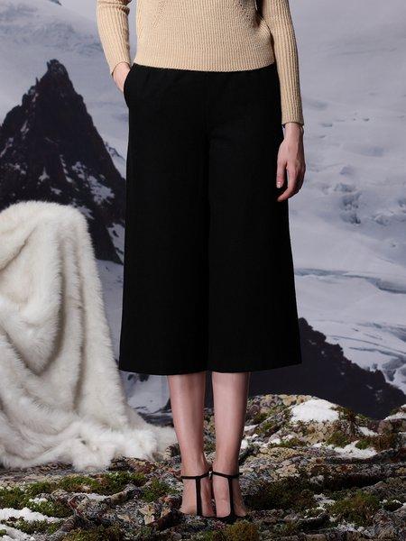 Black Wool Blend H-line Elegant Wide Leg Pant