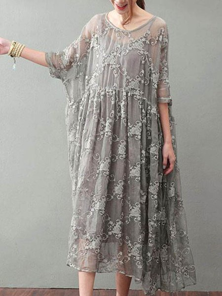 Gray Cotton Floral-embroidered Casual Linen Dress