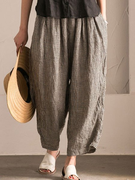 Plus Size Black-white Casual Gingham Linen Pants