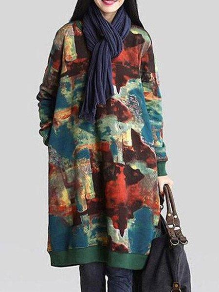 Multicolor H-line Long Sleeve Printed Cotton Linen Top