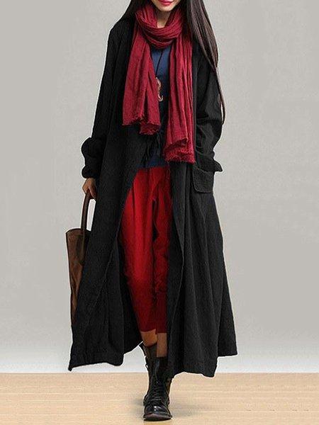 Linen H-line Long Sleeve Solid Linen Outerwear