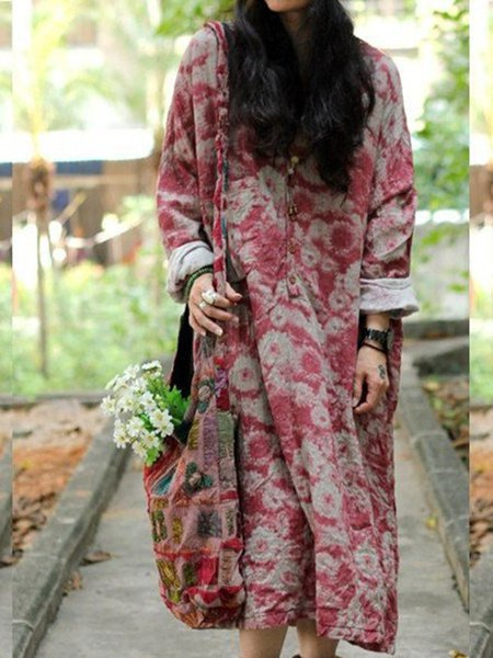 Red V Neck Casual Floral-print Linen Dress