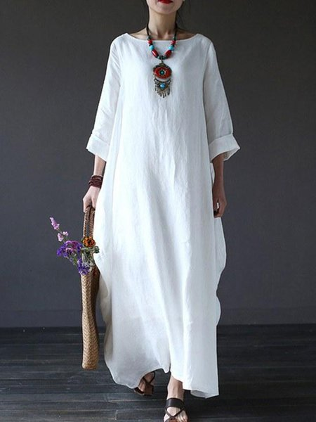 Linen Casual Solid 3/4 Sleeve Linen Dress