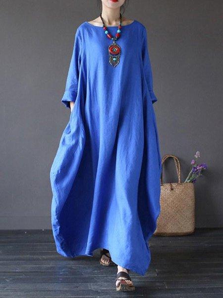 Plus Size  Asymmetric Blue 3/4 Sleeve Shift Linen Dress