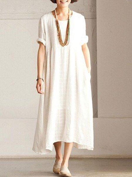 Plus Size White H-line Short Sleeve Linen Dress