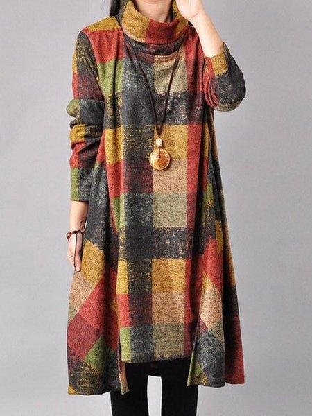 Casual Long Sleeve Checkered Linen Dress