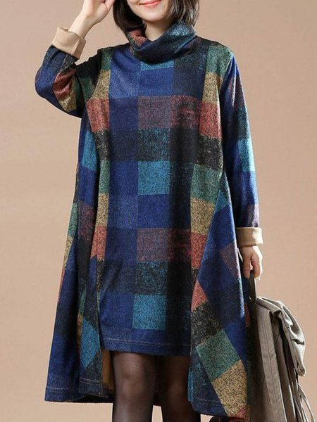 Turtleneck Casual Long Sleeve Printed Dress
