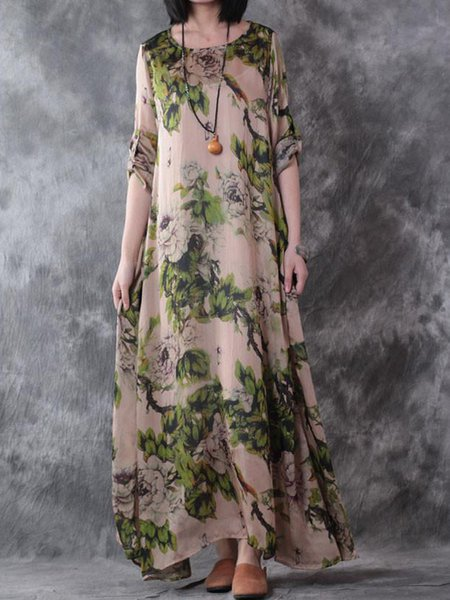 Casual Floral 3/4 Sleeve A-line Floral-print Linen Dress