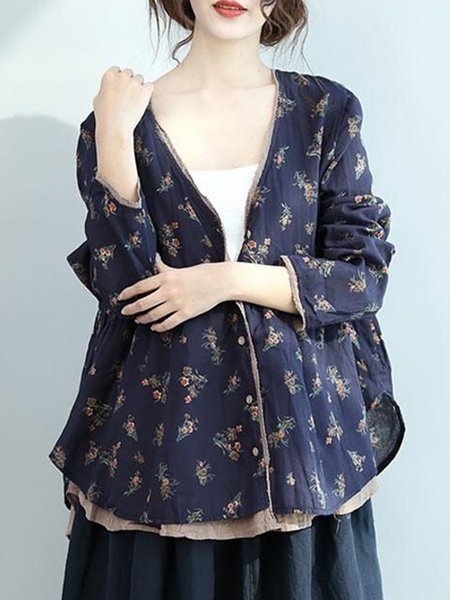 Blue Cotton Paneled Long Sleeve Linen Top