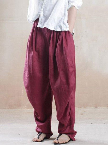 Red Casual Gathered Linen Solid Linen Bottom
