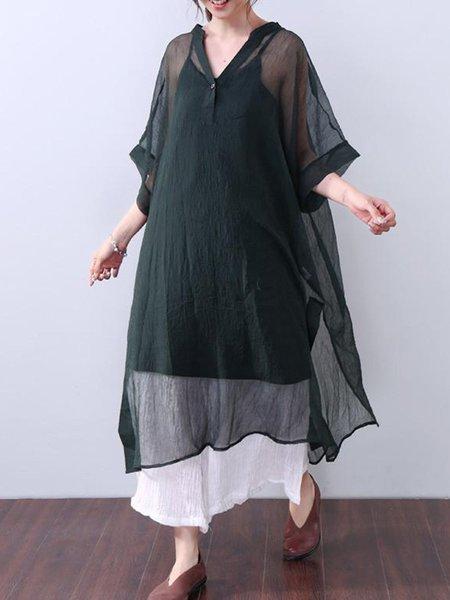 Green Half Sleeve Solid Slit Linen Top