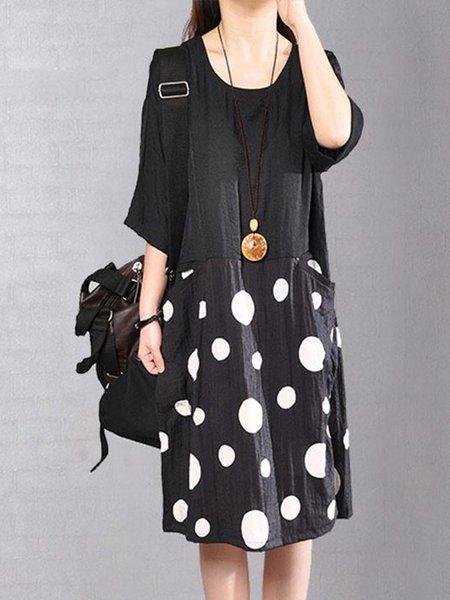 Black Half Sleeve Shift Cotton Linen Dress