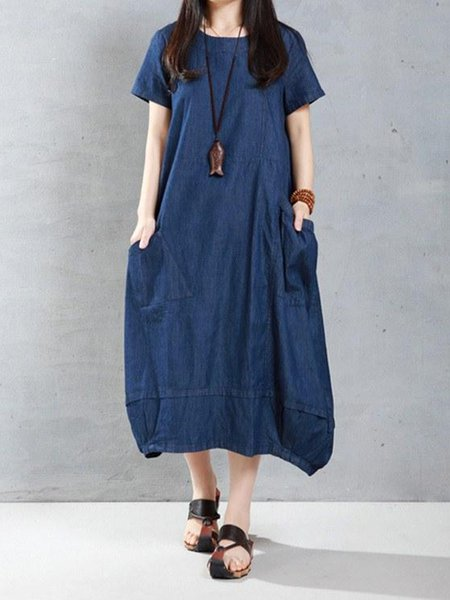 Blue Cocoon Solid Short Sleeve Cotton Linen Dress