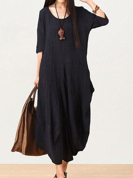 Dark Blue Half Sleeve Linen Crew Neck Linen Dress