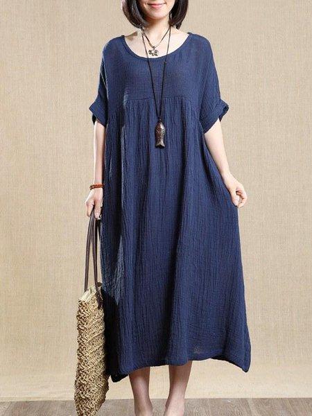 Blue Shift Half Sleeve Linen Dress