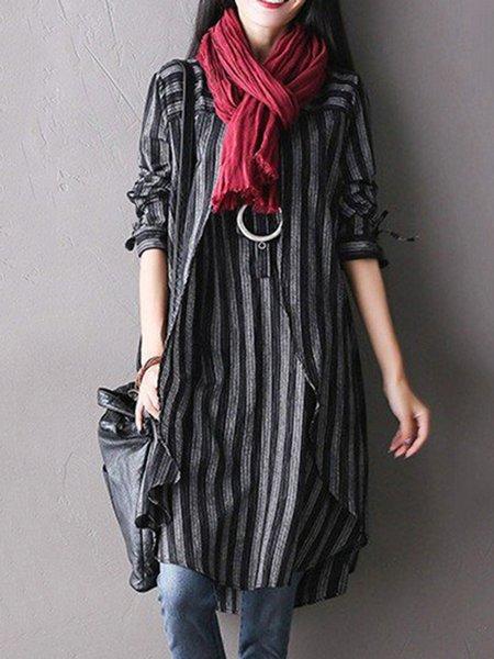 Black Asymmetrical Stripes Casual Linen Dress