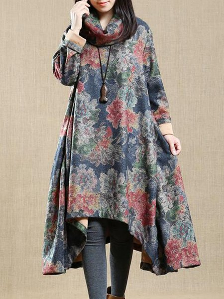 Floral Floral-print Casual Long Sleeve Linen Dress