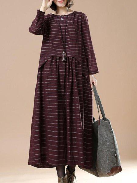 Crimson Cotton Swing Casual Gathered Linen Dress