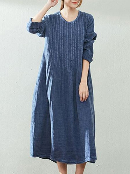 Blue Long Sleeve Cotton Shift Linen Dress