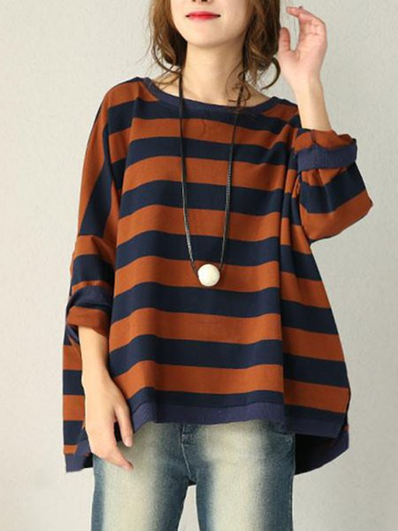 Casual Cotton Stripes Color-block Top