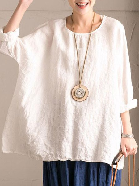 Crew Neck Cotton Long Sleeve Solid Casual Linen Top
