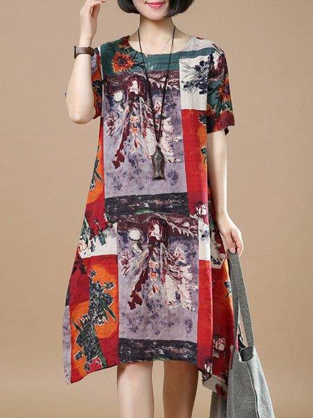 Multicolor Casual Printed Crew Neck Linen Dress