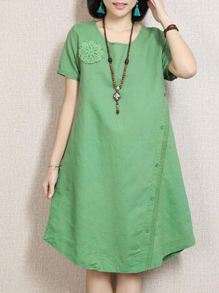 Green Crew Neck Casual Solid H-line Linen Dress