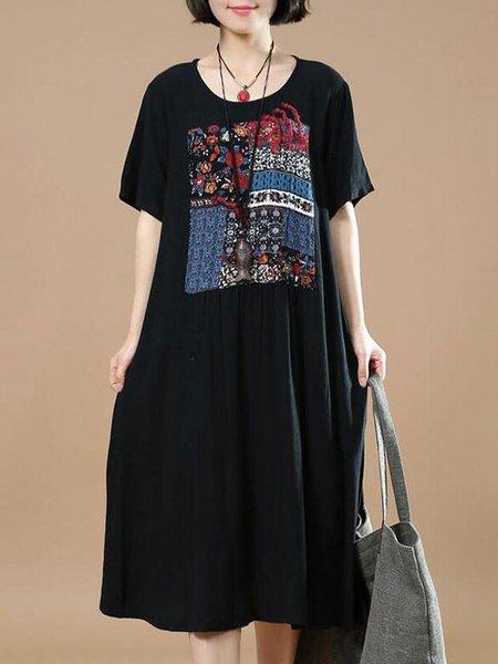 Black Casual H-line Crew Neck Linen Dress