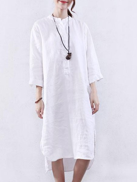 White High Low 3/4 Sleeve Linen Dress