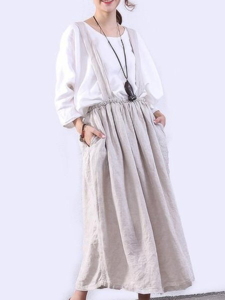 Spaghetti Linen Casual Sleeveless Solid Linen Bottom