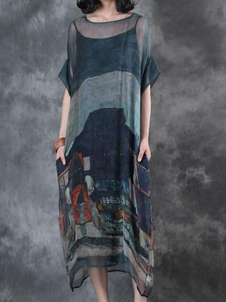 Grey-blue Printed Crew Neck Casual Linen Dress