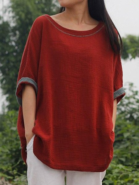 Red Casual Crew Neck Cotton Linen Top
