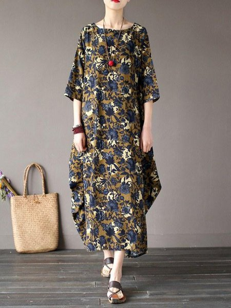 Floral Casual H-line Printed 3/4 Sleeve Linen Dress