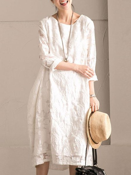White Crew Neck H-line Devore Long Sleeve Linen Dress