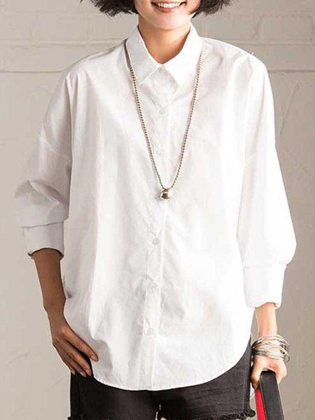 Polyester 3/4 Sleeve Shirt Collar Solid Work Linen Top