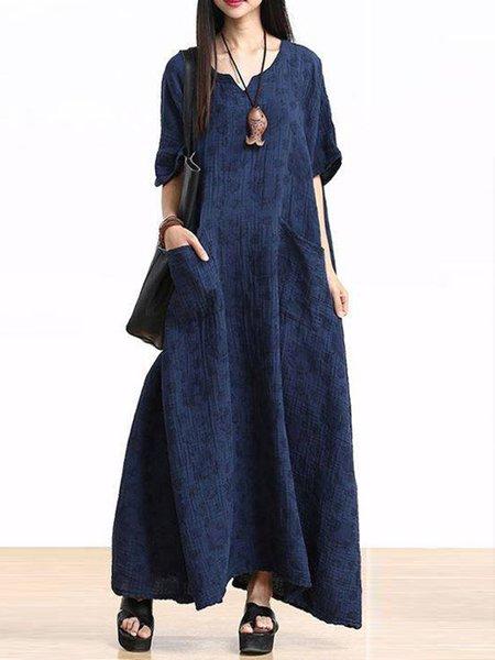 Blue Linen Crew Neck Casual Linen Dress