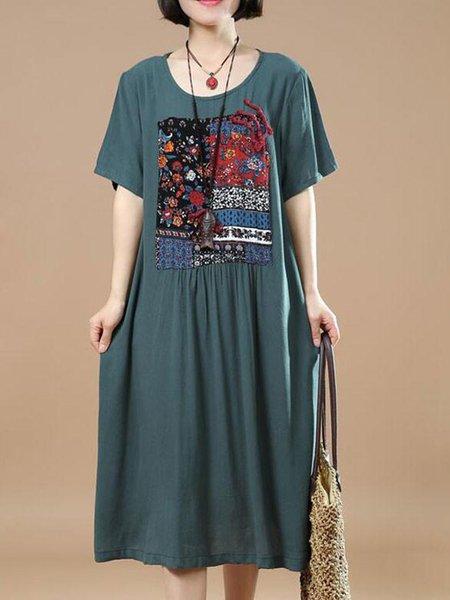 Green Gathered Cocoon Short Sleeve Linen Dress