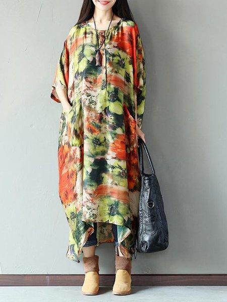Multicolor Half Sleeve Floral Linen Dress