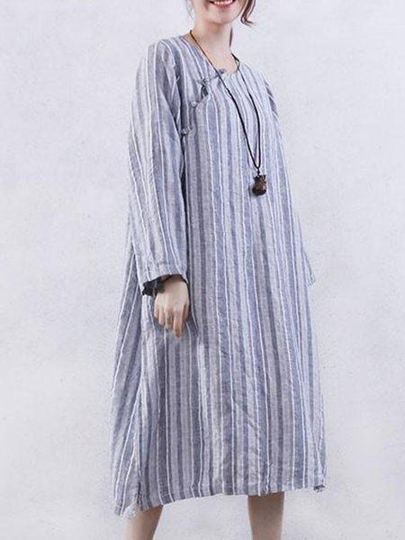 Slit Casual Linen Long Sleeve Linen Dress