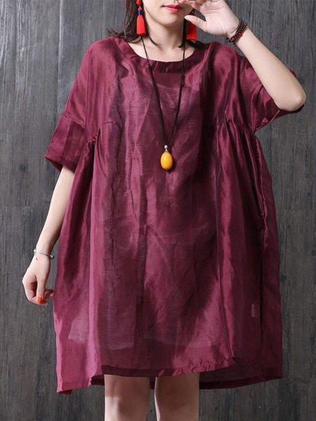 Red Half Sleeve Cocoon Crew Neck Linen Dress