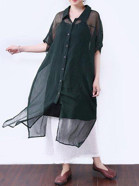 Cotton Half Sleeve Casual Linen Dress