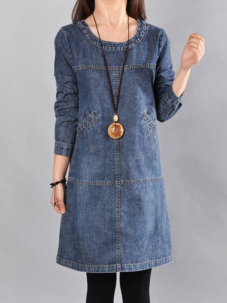 Blue A-line Crew Neck Casual Linen Dress