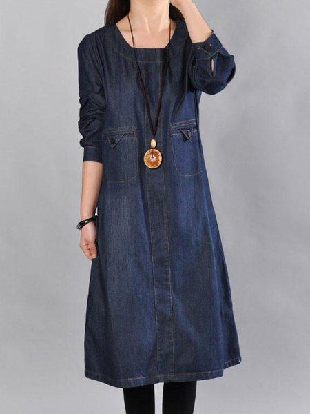 Blue Denim Long Sleeve Pockets Linen Dress