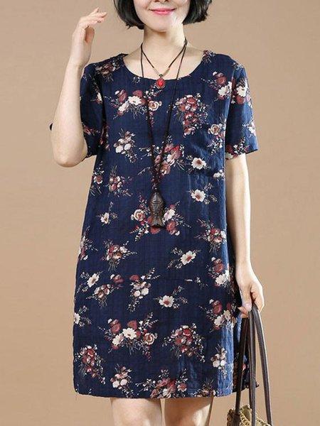 Dark Blue Casual Crew Neck Shift Floral Linen Dress