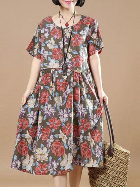 Brown Floral A-line Casual Printed Linen Dress