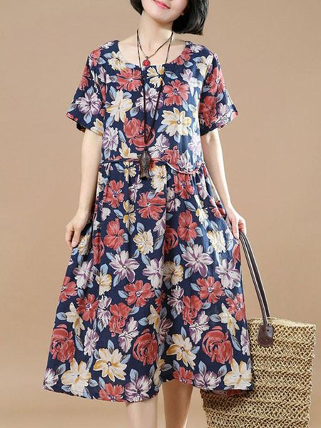 Navy Blue Short Sleeve Floral Crew Neck Linen Dress