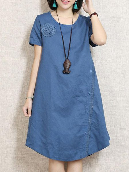 Printed Short Sleeve Casual Solid Linen Dress
