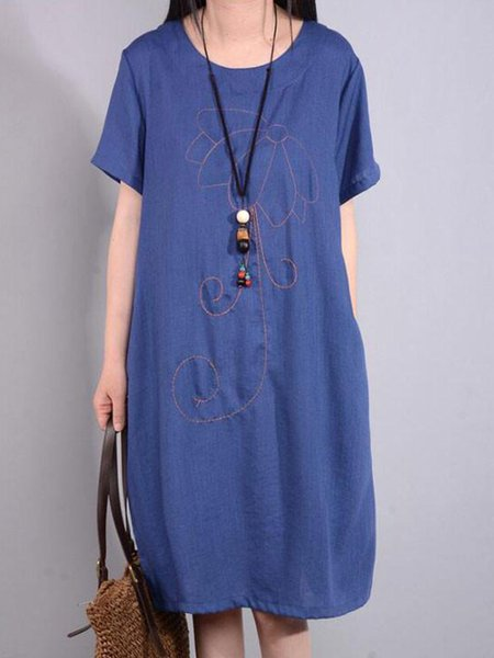 Blue Shift Crew Neck Short Sleeve Linen Dress