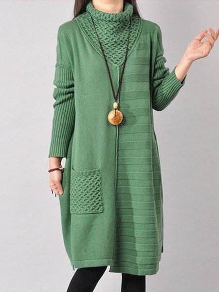 Green Casual Turtle Neck Linen Knitwear